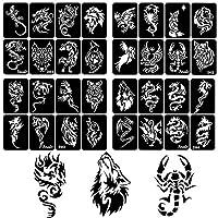 32枚 タトゥー 用一時的な刺青のステンシルセット 入れ墨 メンズ ボディアートとエアブラシ用Tattooステンシル 龍ドラゴン肩・胸用[小型]