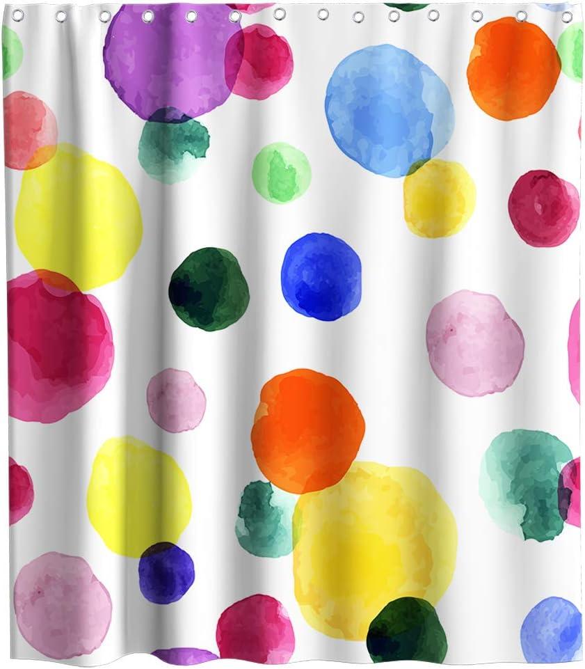 Watercolor Rainbow Stripe Theme Fabric Shower Curtain Sets Kids Bathroom Decor with Hooks Waterproof Washable (70W x 70H)