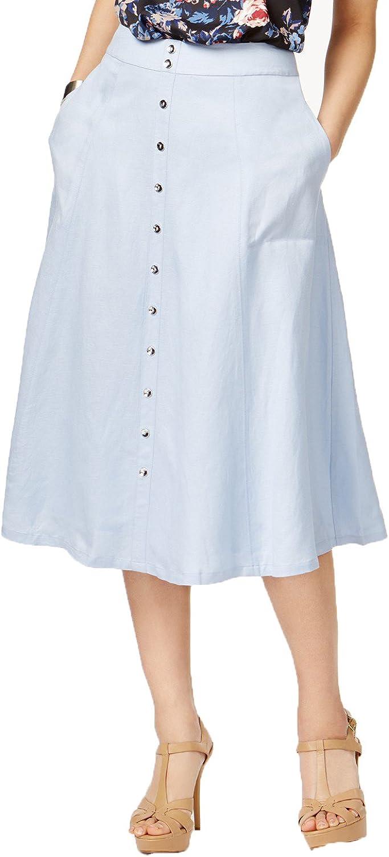Grace Elements Womens Linen Blend Button Trim ALine Skirt