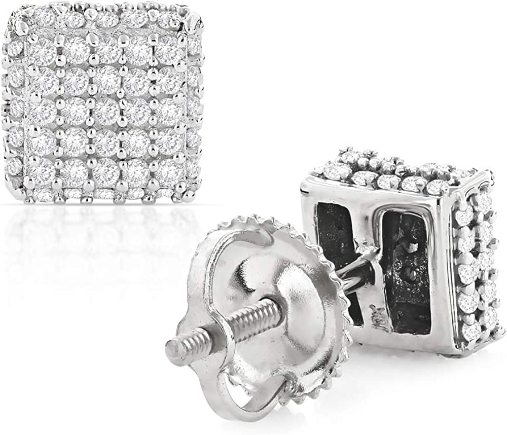 Pave Round Diamond Stud Earrings 0.5ctw in 10k Gold by Luxurman