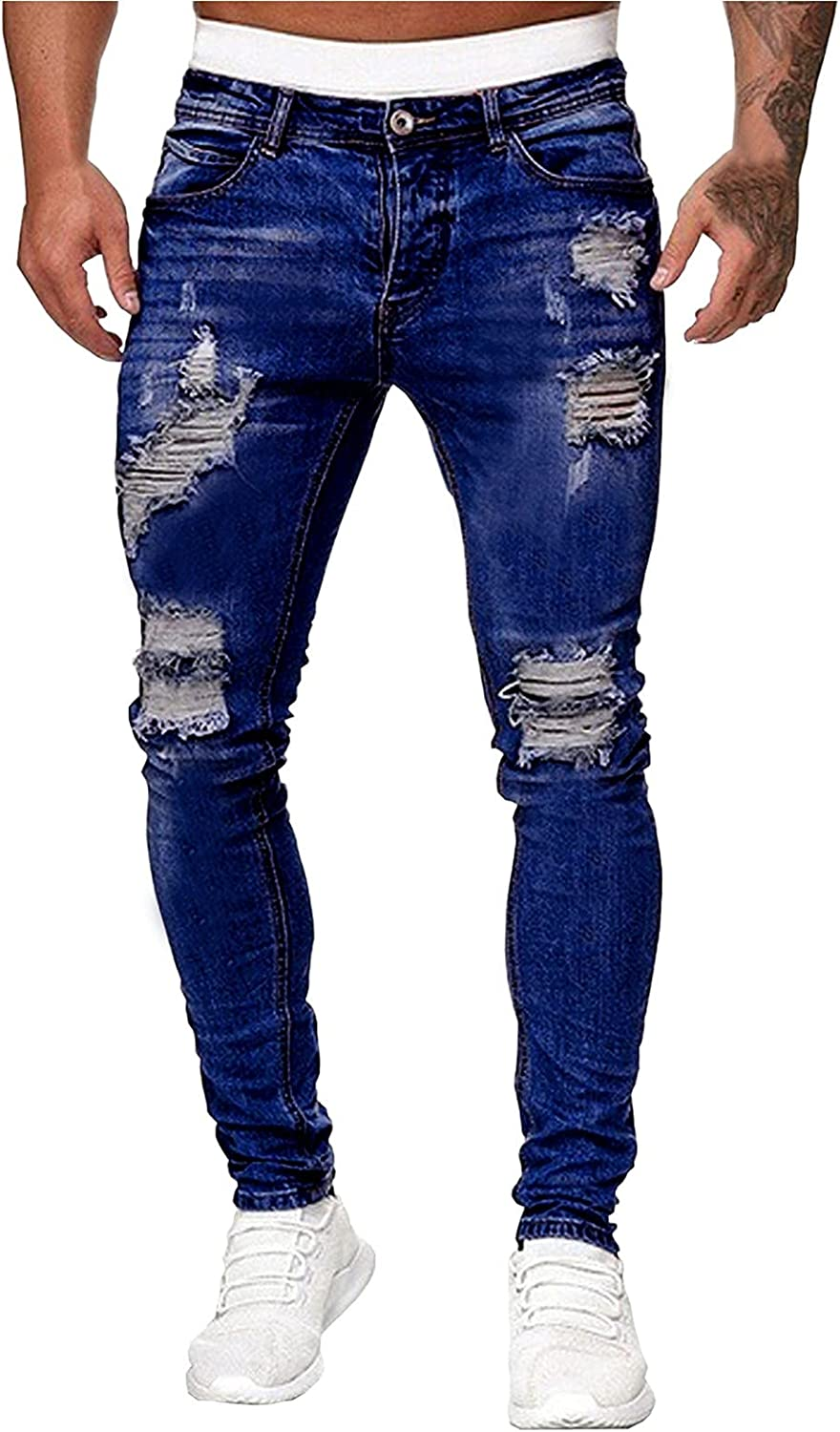 Burband Mens Cowboy Cut Slim Fit Jean Casual Ripped Skinny Distressed Destroyed Stretch Biker Jeans Pants with Holes