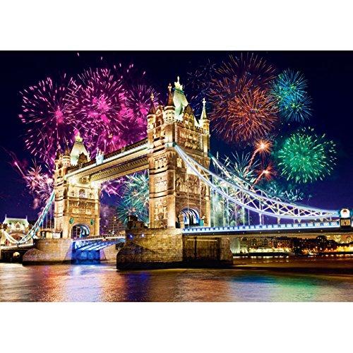 alles-meine.de GmbH Puzzle 500 Teile - Tower Bridge , London , England - Brücke Feuerwerk Silvester Nacht - Themse Fluss Ufer - Skyline Stadtmotiv Stadt - Sprachreise Städte / ..