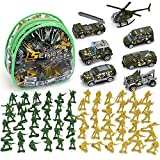 TOY Life Die Cast Metal Military Vehicles and Plastic Army Men Toy Soldiers Play Set   Military Army Toys Gift Set for Boys   Includes a Bag Army Cars and Helicopter Toy