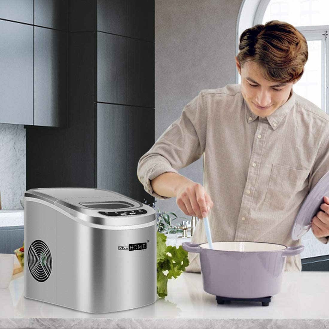 VIVOHOME Electric Portable Compact Countertop Automatic Ice Cube Maker Machine 26lbs/day Silver