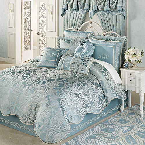 Touch of Class Romantic Regency, Jacquard Woven Scrollwork, Parisian Blue – Oversized Comforter Set – Queen, King, California King – Luxury Regal Accent – Polyester Satin Ground, Poly Bedding Fill