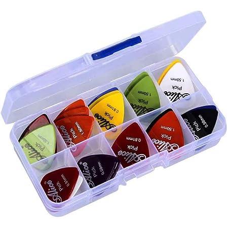 Médiators,40 Pack Médiators de Guitare Set de Médiators Picks pour Guitares Electrique Basses Acoustique 0,58 mm 0,71 mm 0,81 mm 0,96 mm 1,2 mm 1,5 mm