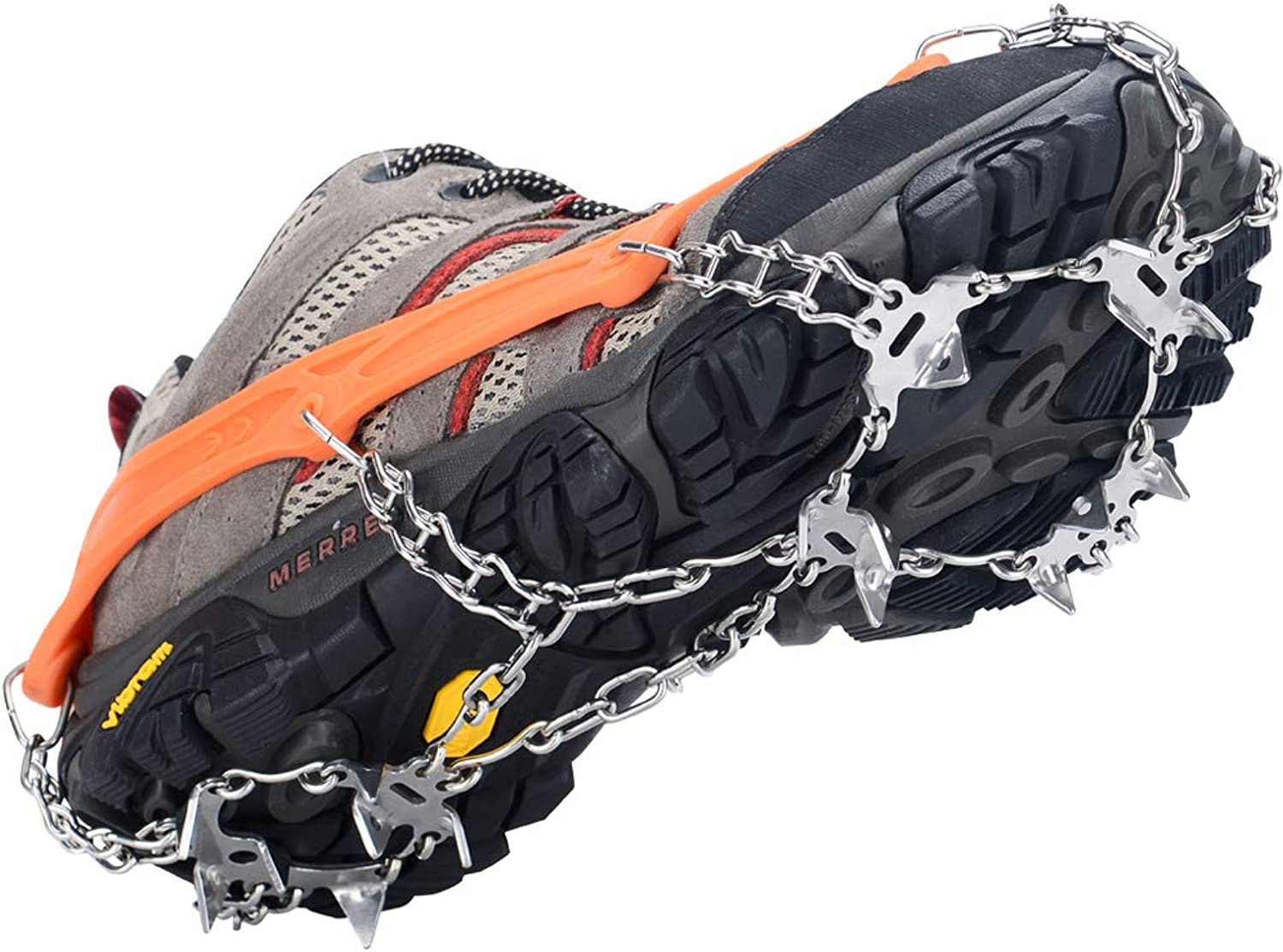 Uelfbaby Walk Traction Cleats Ice Snow Grips Anti Slip Stainless Steel Spikes 19 Teeths Crampons for Boots shoes L XL XXL