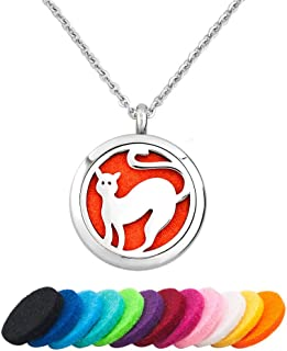 CLY Jewelry Essential Oil Locket Pendant Love Cat Kitten Aromatherapy Diffuser Necklace