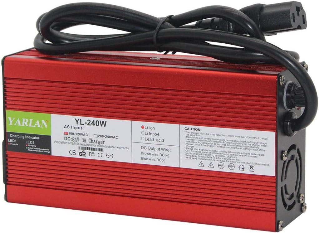 Cargador de bater/ía 84 V 2 A XLR 3 Pin para bater/ías de 72 V de iones de litio Scooter E-Bike Pedelec