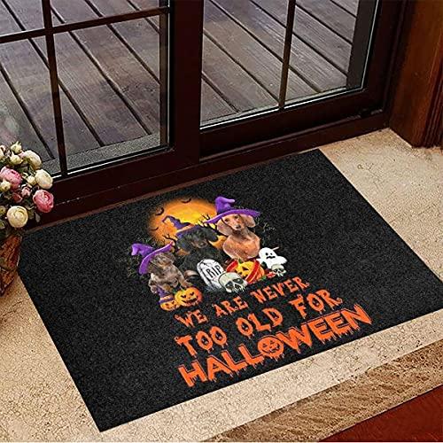"""TIANTURNM Felpudo Interior para Puerta Dachshund We Are Too Old for Halloween Felpudo Cute Welcome Mat Halloween Merch decoración de la casa hogar Regalo inauguración casa 20""""x32"""""""