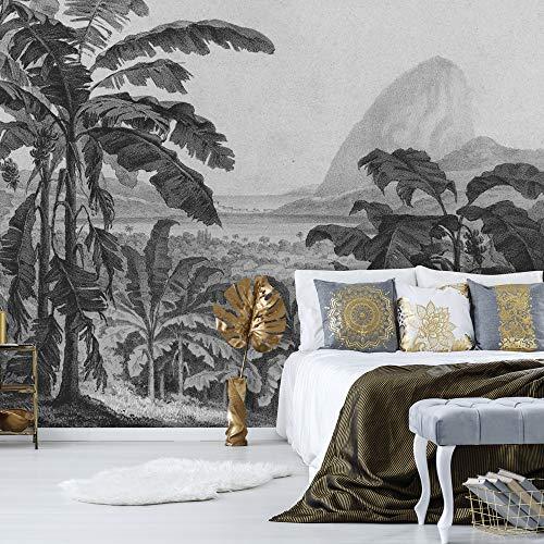 Daring Walls Wallpaper Radierung afrikanischer Landschaft - dunkelgrau 150 cm