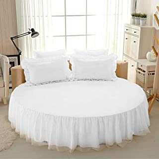 Round Bed Sheet Set Cotton Bed Cover Dust-proof ruffles are easy to fit against wrinkles and fades-18inch Drop,K,Twopillowcases