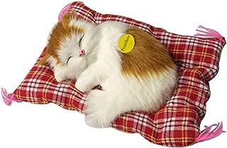 Simulation Sleeping Cat Kitten Plush Sound Toy Home Decoration Sleeping Cat Toy White Yellow with Mat Cat