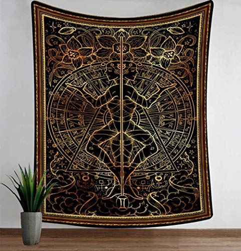 N / A Witchcraft Tarot Tapestry Mandala Wall Cloth Towel Blanket Constellation Divination Tapestry Home Decoration A9 150x130cm