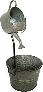 BACKYARD EXPRESSIONS PATIO · HOME · GARDEN 906032 Metal Galvanized Garden Watering Can Fountain, Silver
