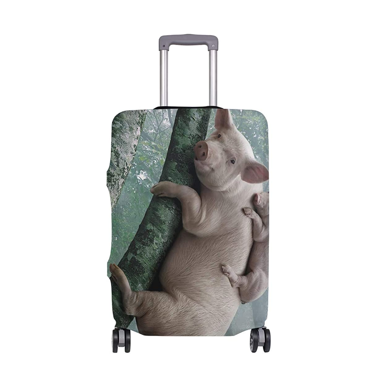 裂け目シンプトン希望に満ちたスーツケースカバー 伸縮弾性素材 洗える おしゃれ 旅行 海外 かわいい 豚は木に登る パターン トラベルダストカバー 通気性 傷防止 防塵カバー