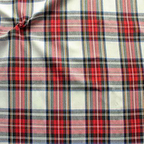 STOFFKONTOR Modestoff Dekostoff Classic Schottenkaro - Meterware, Weiss - zum Nähen von Hosen, Kleidern, Kissen, leichten Decken UVM.