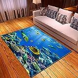 xiangpiaopiao Alfombra Alfombra Hermoso Submarino Tiburón Delfines Escuela De Peces Impreso En 3D Decoración para El Hogar Alfombra Suave Antideslizante (03327Dt) 60X100Cm