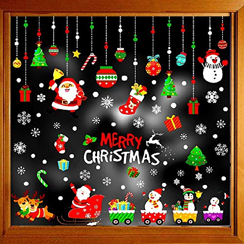 Christmas Decorations Window Clings Large Stickers for Glass(Size of Santa Claus is 7.5in.), Xmas Decor Decals Holiday Snowflake Reindeer Snowman Christmas Tree Stocking, Party Supplies Gift Idea