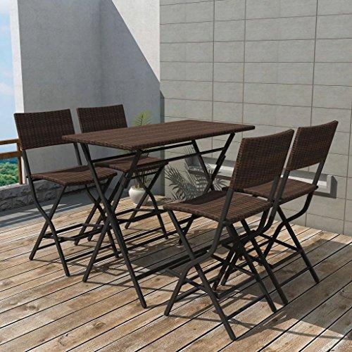 Furnituredeals Ensemble table chaises de jardin 5 pièces polyrotin pliable Marron.Ce lot de haute qualité sont robuste et résistant.Idéal pour jardins et extérieur