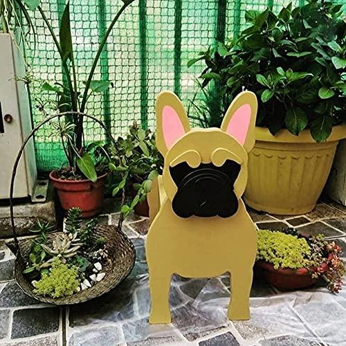 Dog Planter, [9.4''x5.5''x3.1''] Wooden Cute Animal Planters Flower Pot, Chihuahua Dog French Bulldog Corgi Golden Retriever Pug Dog Garden Yard Art Decor (French Bulldog B)