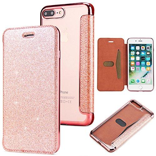 Yobby Glitter Cover per iPhone 7 Plus,Cover iPhone 8 Plus,Brillantini Pelle Flip Libro Portafoglio Custodia con Porta Carte e Trasparente Morbido TPU Indietro Placcatura Caso-Oro Rosa