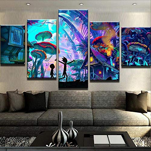 Póster de 5 paneles de Ricky And Morty abstractos para sala de estar Cuadros de decoración moderna + póster de arte de lienzo de pared de 5 paneles de fantasía personaje abstra