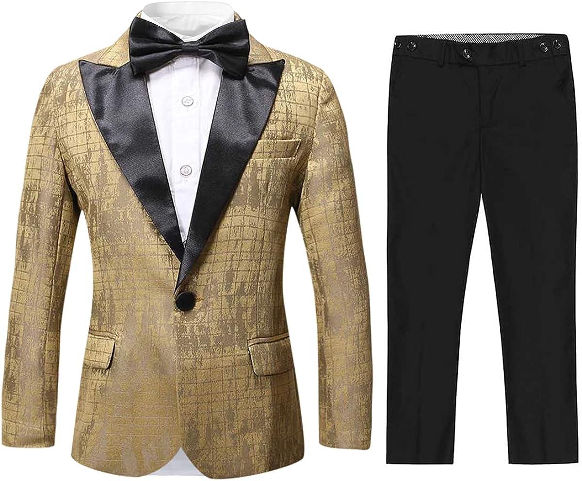 Boys Tuxedo Suit Paisley Slim Fit 3 Pieces Blazer Pants Bowtie Wedding Party