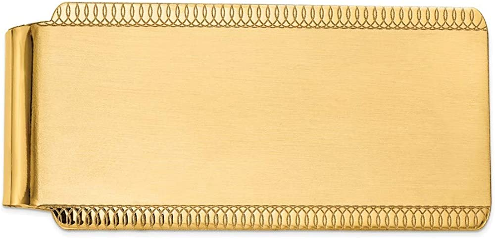 14k Yellow Gold Engraveable Very popular Sandblast and Men's Very popular Edge-Design Mone