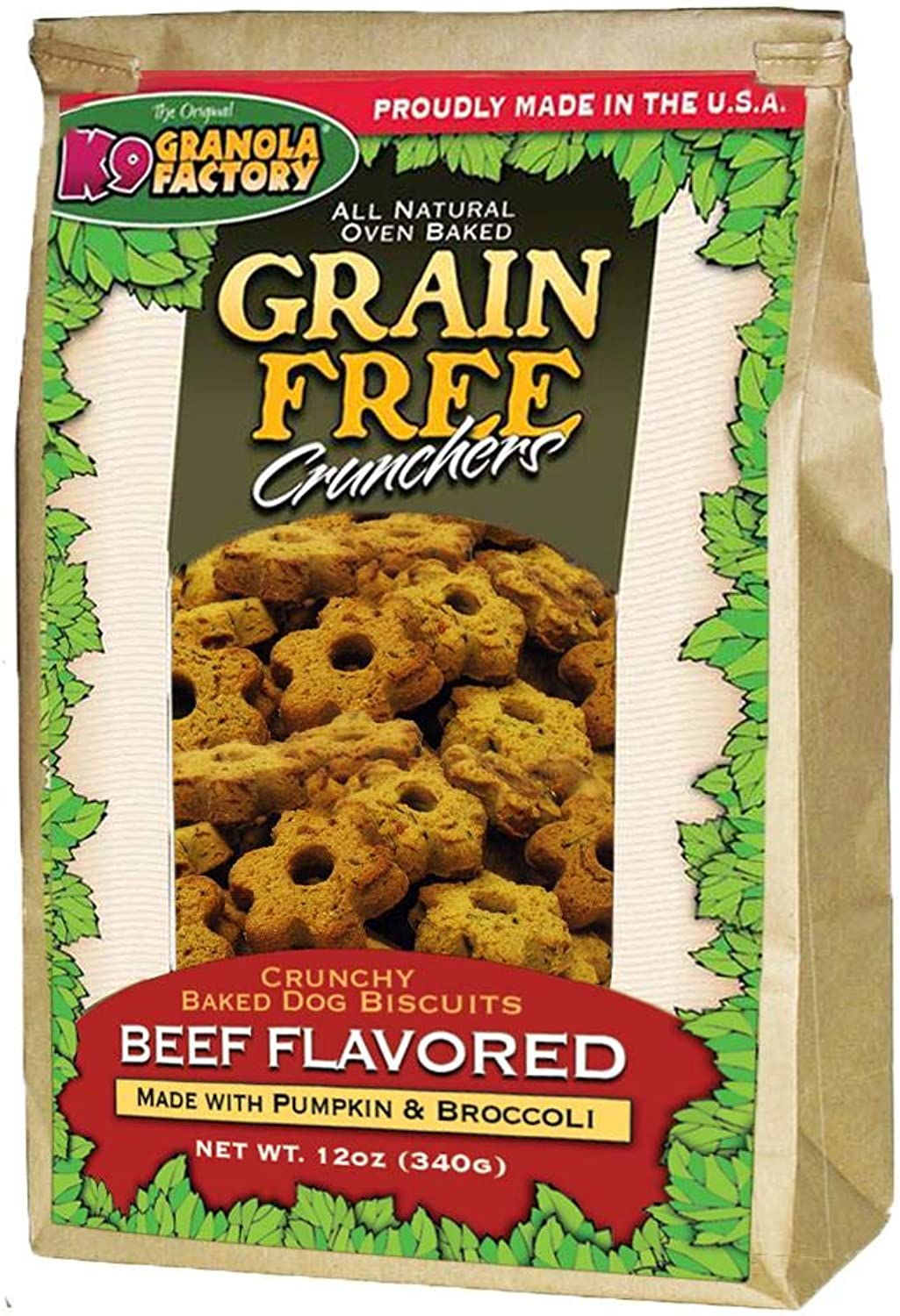 K9 Granola Factory Grain Free Beef with Pumpkin and Broccoli Crunchers (12 oz)