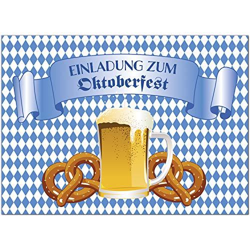 15 Einladungen zum Oktoberfest 2020 / Format DIN A6, 2-seitig/Bier und 2 Brezel/Einladungs-Karten zum Oktober-Fest mit Umschlägen/Garten Party