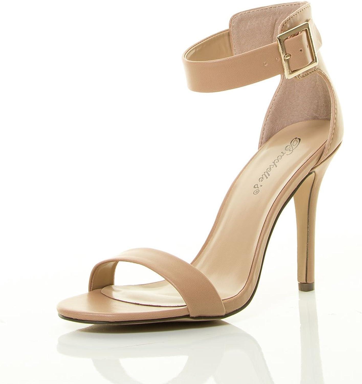 Breckelles Women's Open Toe Stiletto High Heel Single Sole Ankle Strap Sandal