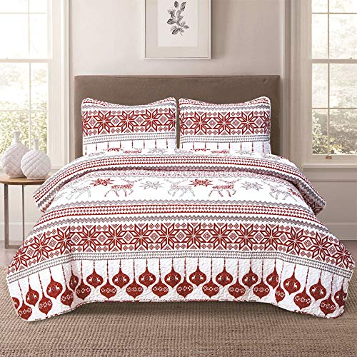Winter Holiday King Quilt Bedding Set Red Grey Christmas Ornament Reindeer
