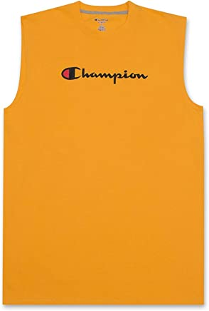 Champion Mens Big and Tall Jersey Muscle Tee with Script Champion Logo