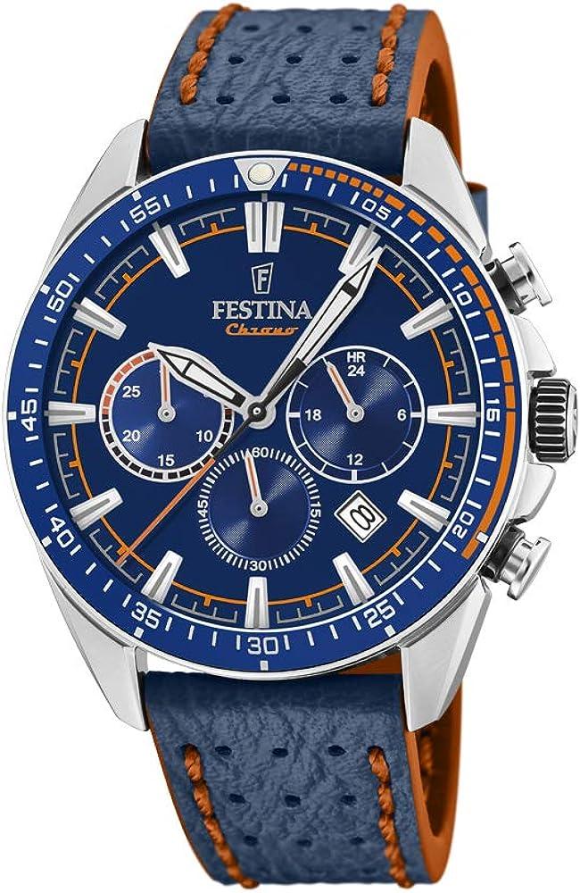 Festina orologio cronografo da uomo con cassa in acciaio inossidabile cinturino in vera pelle F20377/2