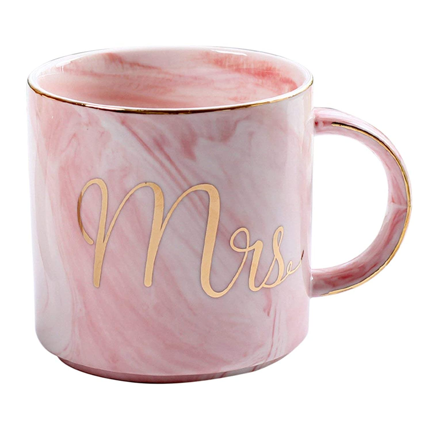 はげ入場料弁護人Saikogoods 愛好家のためのホームオフィスベストギフトのための美しいMarbelパターンセラミック水マグレタープリントコーヒーカップ ピンク