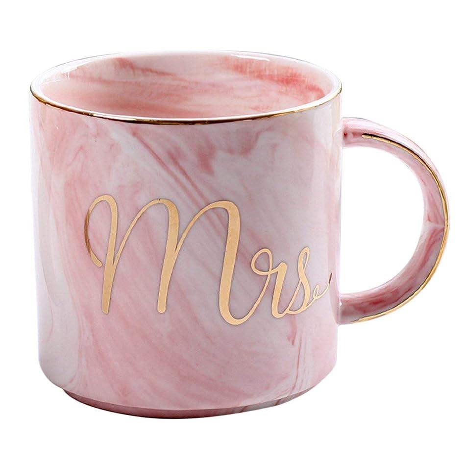 細胞牛肉国勢調査Saikogoods 愛好家のためのホームオフィスベストギフトのための美しいMarbelパターンセラミック水マグレタープリントコーヒーカップ ピンク