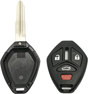 Keyless Entry Remote Key Fob Shell Case 4 Buttons Replacement for Mitsubishi Eclipse Lancer Endeavor Galant Outlander with Uncut Blade (Black)