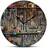 Dadidyc Silent Wall Clock,Man Cave Decor,Vintage Tools Hanging On A Wall in A Tool Shed Workshop Fixing Equipment Non Ticking Wall Clock/Desk Clock for Office Home Decor 9.5 inch