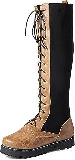 LOVE-HOME Hoge laarzen dames, lage hak Lace-Up lange laarzen, ronde teen comfortabele en veelzijdige mode damesschoenen, k...