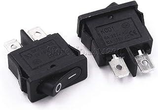 10PCS KCD1-110 Black Red Ultrathin Rocker Switch Small Instrument Power Switc (Color : Black)