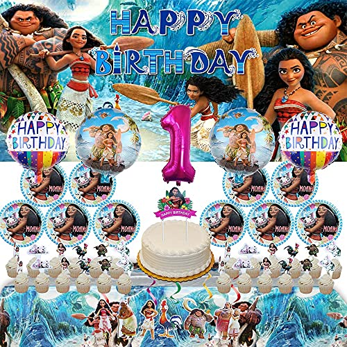 1st Moana Party Supplies | for Girls | Decorations | Birthday | 1 | Banner | Backdrop | First | Balloons | Plates