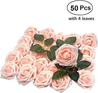 Lmeison Artificial Flower Rose, 50pcs Real Looking Artificial Roses w/Stem for Bridal Wedding Bouquets Centerpieces Baby Shower DIY Party Home Décor, Blush with 4 Leaves