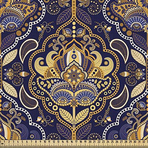 ABAKUHAUS Asiático Tela por Metro, Modelo Oriental Árabe, Decorativa para Tapicería y Textiles del Hogar, 2M (148x200cm), Púrpura Amarillo