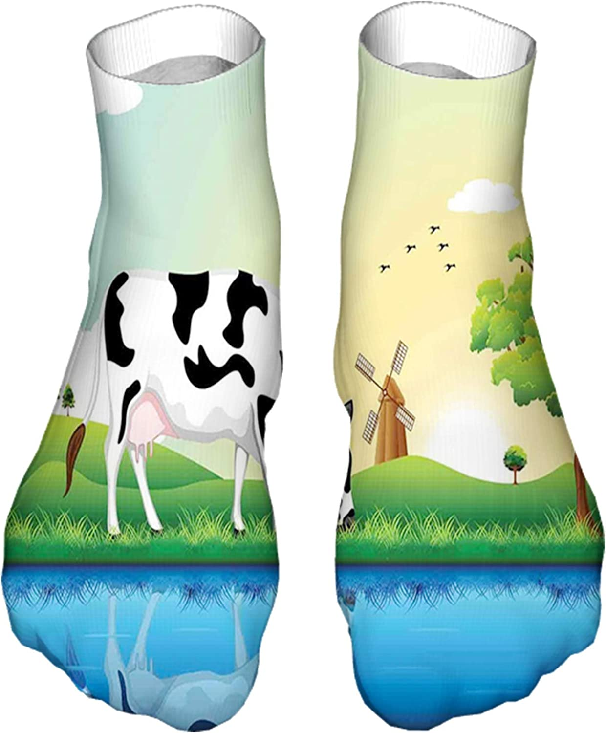 Men's and Women's Fun Socks Printed Cool Novelty Funny Socks,Graphic Design Grazing Cow in The Field with Trees Near