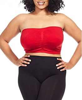 Women's Plus Size Seamless Padded Bandeau Tube Top Bra (S/M-7X/8X)