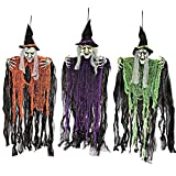 JOYIN 3 Pack Brujas Colgantes de 90 cm con Brazos Flexibles, Decoraciones de Halloween para Interiores y Exteriores
