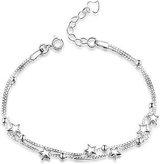 8e40a8b9e Elegant Mini Stars Beaded Charm Bracelet 925 Sterling Silver Box Chain  Layered Women's Bracelet Dainty Jewellery