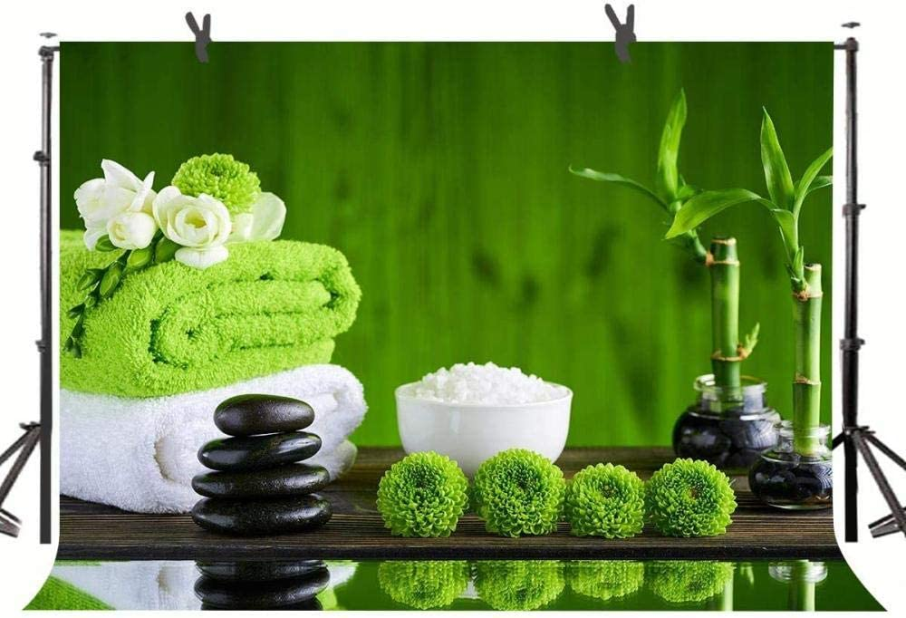 Zhy SPA Party Backdrop 7X5FT Oriental Spa Towel Green Bamboo ForeLeaves Stone Needle Photography Background YouTube Photo Favors Studio Prop Customize 1041
