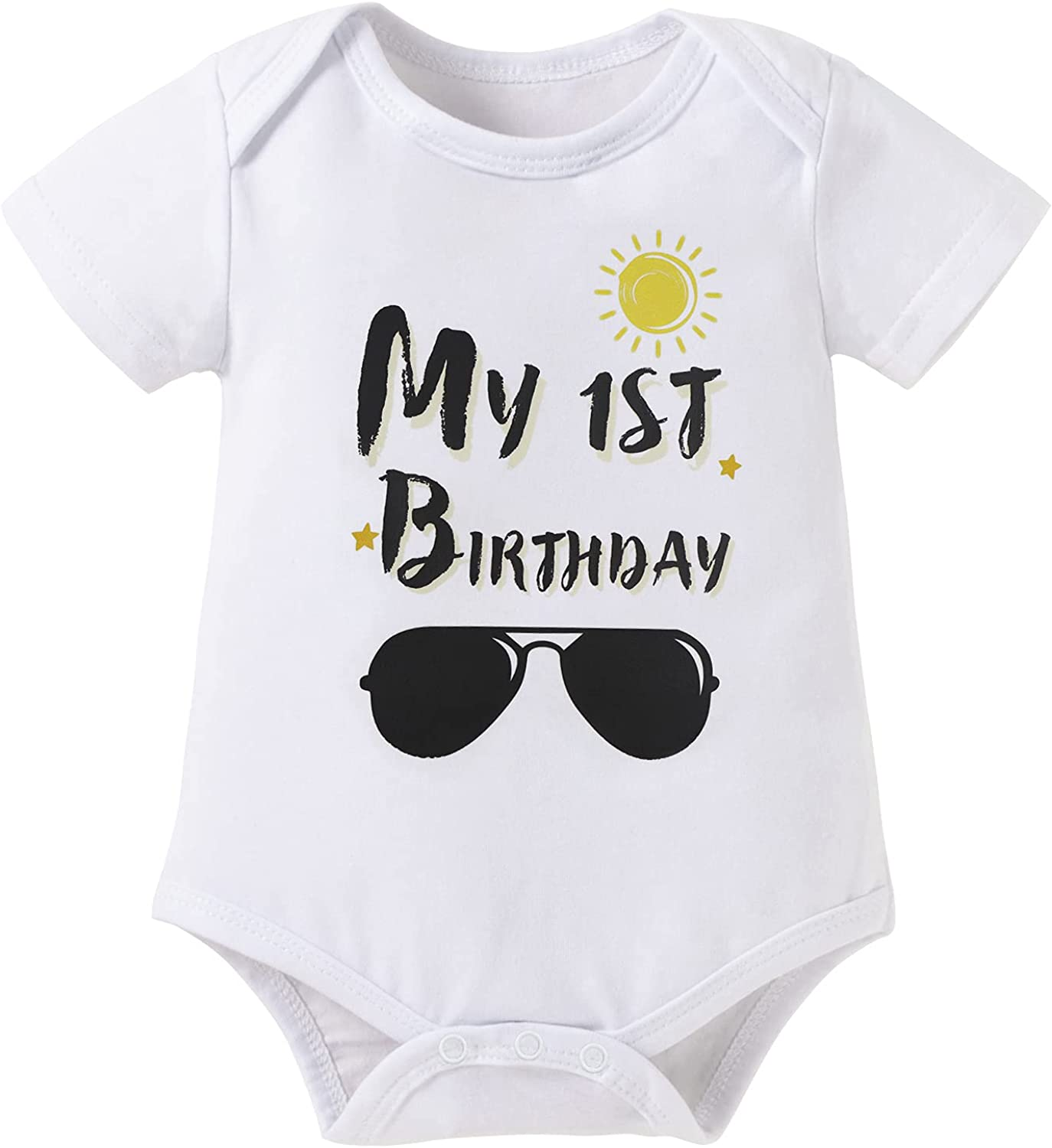 AGQT Infant Babys First Birthday Outfit Smash Cake 3PCS Short Sleeve Romper Bodysuit Size 9-18 Months